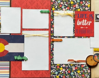 Life is Better at 14,000 feet - Colorado Themed 2 Page Scrapbooking Layout Kit or Pre Made Scrapbooking Pages Colorado DIY craft kit