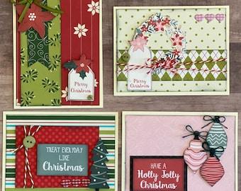 Have a Holly Jolly Christmas - Christmas Themed Card Kit- 4 pack DIY Holiday Card Making Kit Diy Christmas craft