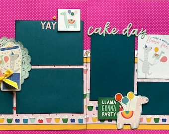 HBD - Cake Day 2 Page Scrapbooking layout KIt or Premade Scrapbooking Pages