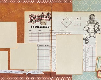 Baseball Tournament 2 Page Scrapbooking Layout Kit or Premade Pages Baseball craft baseball diy craft kit