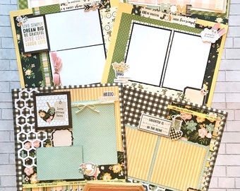 Top Shelf Kit Club April - 3 - 2 Page Scrapbooking Layout Kits - Simple Stories Spring Farmhouse