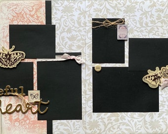Grateful Heart Vintage 2 page Scrapbooking Layout Kit or Premade Scrapbooking Pages DIY Family craft