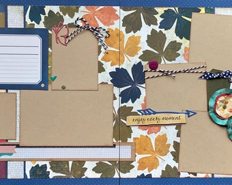 You and I, Enjoy Every Moment 2 Page Scrapbooking Layout Kit or Pre Assembled Scrapbooking Pages.  Family diy scrapbook kit, Family craft