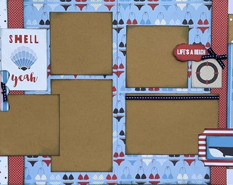 Ride the Waves - Shell Yeah!  2 page scrapbooking layout Kit or Premade Scrapbooking Pages