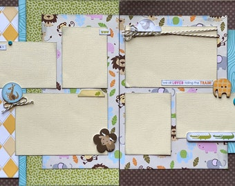 Animal Cracker - Zoo a2 Page Scrapbooking Layout Kit or Premade Pages Zoo scrapbook diy craft kit Zoo craft kit