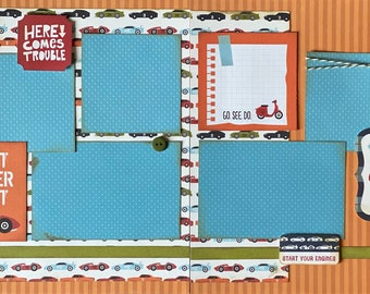 Fast, Never Last - Race car 2 page Scrapbooking layout kit or Premade Scrapbooking Pages
