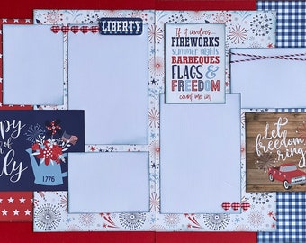 Happy 4th of July - Let Freedom Ring 2 Page Scrapbooking Layout Kit or Pre Made Pages Fourth of July diy craft kit scrapbooking diy kit