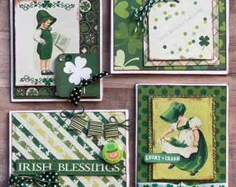 Irish Blessings DIY Themed Card Kit- 4 pack - St Patricks Day Greeting Card, Irish Blessing DIY craft kit