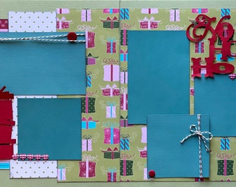 Ho Ho Ho Christmas  2 Page Scrapbooking Layout Kit or Premade Scrapbooking Pages  diy craft kit
