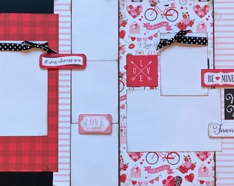 True Love is the Greatest Adventure DIY 2 Page Scrapbooking Layout Kit or Premade Scrapbooking Pages, Happy Valentines Day DIY Craft Kit