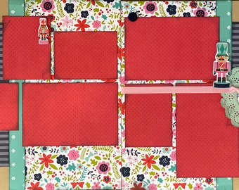 Nutcracker Christmas 2 Page Scrapbooking Layout Kit or Premade Scrapbooking Pages
