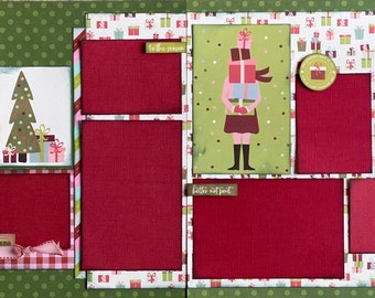 Rockin Arounds the Christmas Tree 2 Page Scrapbooking Layout Kit or Premade Scrapbooking Pages