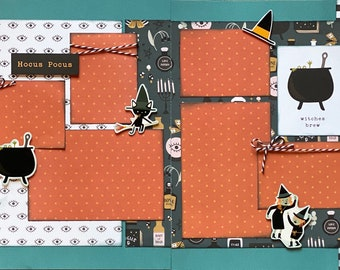 Hocus Pocus - Witches Brew Halloween 2 Page Scrapbooking Layout Kit or Premade Scrapbooking Pages halloween diy craft kit