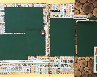 Wander - Happy Camper - Adventure 2 Page Scrapbooking Layout Kit or Premade Scrapbooking Pages