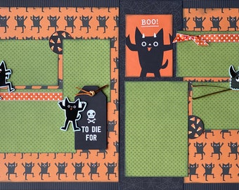 Boo!  To Die For - Monster Halloween  2 Page Scrapbooking Layout Kit or Premade Scrapbooking Pages halloween DIY craft kit