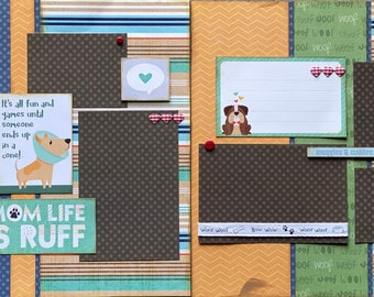 It's All Fun and Games Until Someone Ends Up in a Cone - Dog Scrapbooking 2 Page Scrapbooking Layout Kit or Premade  Pages Dog diy craft kit