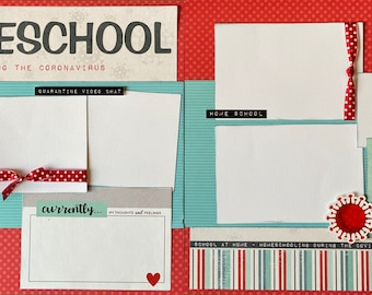 Homeschool Quarantine  2 Page Scrapbooking layout KIt