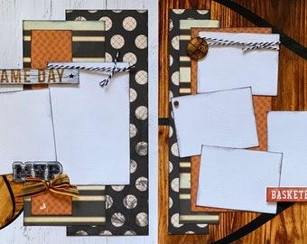 Game Day- Basketball  2 page Scrapbooking layout kit or Premade Scrapbooking Pages, DIY Basketball craft kit, DIY