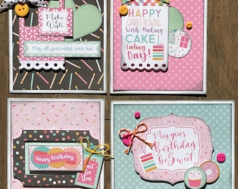 Birthday  Themed Card Kit Set #1  - 4 pack DIY Card Kit
