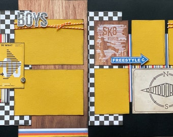 SK8 Boarder, Skateboarding 2 Page Scrapbooking layout Kit or Premade Scrapbooking Pages, DIY skateboarding Kit, DIY craft kit