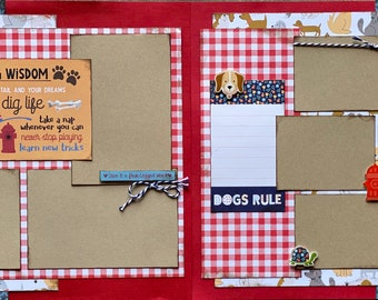 Dog Wisdom - Chase Your Tail and Your Dreams Scrapbooking 2 Page Scrapbooking Layout Kit or Premade Scrapbooking Pages Dog diy craft kit