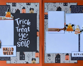 Trick or Treat Yo'Self Halloween 2 Page Scrapbooking Layout Kit or Premade Scrapbooking Pages halloween DIY craft kit
