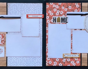Stay Awhile - Home 2 page Scrapbooking Layout Kit or Premade Scrapbooking Pages DIY Family craft