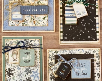 Hello Winter General Themed Card Kit- 4 pack winter diy card craft card making kit winter themed thank you just for you