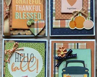 Hello Fall Themed Card Kit Set   - 4 pack DIY Card Kit Fall Card Craft DIY