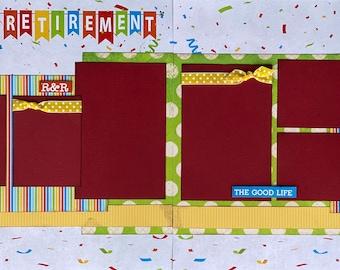 Happy Retirement 2 page Scrapbooking Layout Kit or Premade Scrapbooking Pages DIY retirement scrapbook kit