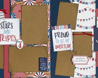 Stars and Stripes, Old Glory Americana 2 Page Scrapbooking Layout Kit or Pre Made Pages Fourth of July diy craft diy kit