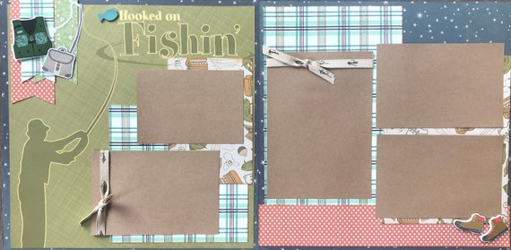 Hooked on Fishing 2 page scrapbooking layout kit or Premade Scrapbooking Pages