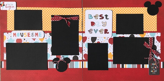 Ok, Let the Fun Begin Best Day Ever - Mouse and Me - Disney Inspired 2 page Scrapbooking Layout Kit or Premade Scrapbooking Pages