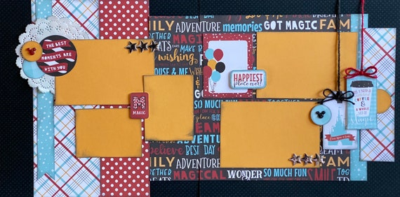 The Best Moments are With You - Magic - Disney Inspired 2 page Scrapbooking layout Kit or Premade Scrapbooking Pages