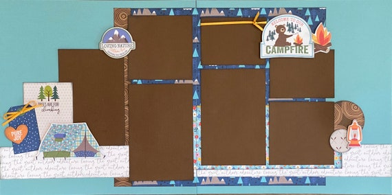 Welcome to Our Campfire - Trees are Made for Climbing  2 Page Scrapbooking layout Kit or Premade Scrapbooking Pages