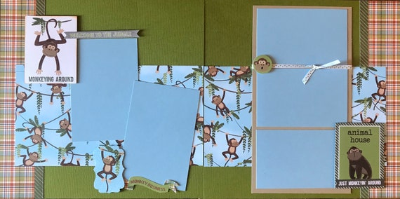 Monkeying Around - Animal House / ZOO  2 Page Scrapbooking Layout Kit or Premade Pages