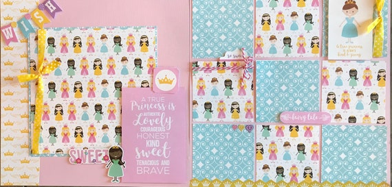 A True Princess is Authentic, Lovely, Courageous, Honest...2 page scrapbooking layout kit or Premade Scrapbooking Pages