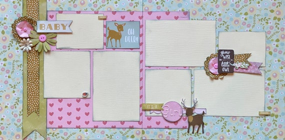 Oh Deer!  It's a Girl!   2 page Scrapbooking Layout Kit or Pre Made Pages
