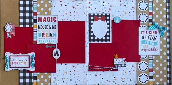 When You Wish Upon a Star - Disney Inspired 2 page Scrapbooking layout Kit or Premade Scrapbooking Pages