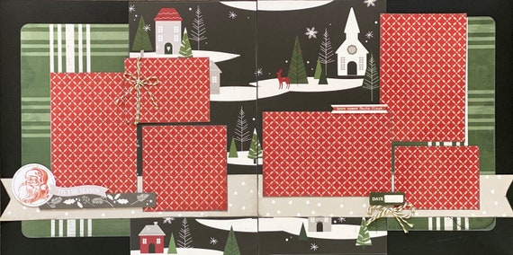 Here Comes Santa Claus - Tis the Season 2 Page Scrapbooking layout Kit or Premade Scrapbooking Pages