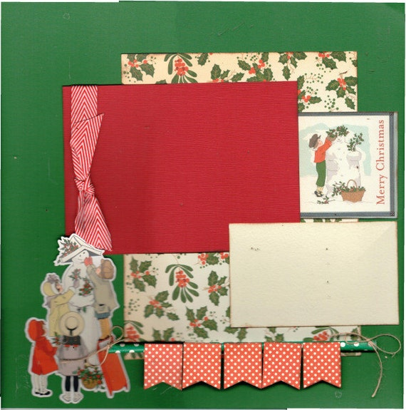 Merry Christmas, Snowman, 2 Page Scrapbooking Layout Kit
