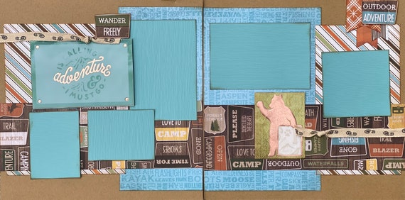 Adventure is Calling and I Must Go! 2 page Scrapbooking Layout Kit or Premade Scrapbooking Pages