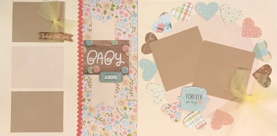BABY - Adore / Forever in My Heart 2 page Scrapbooking Layout Kit or Pre Made Pages