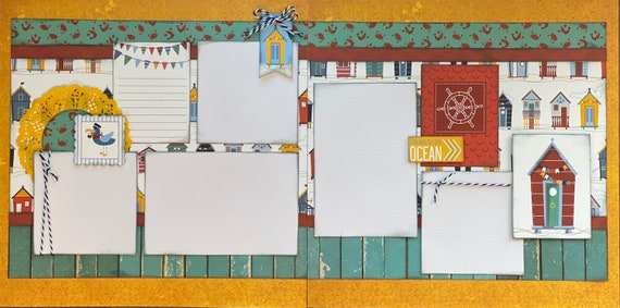 You'll Find me at the Ocean 2 page scrapbooking layout Kit or Premade Scrapbooking Pages