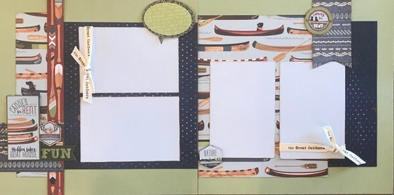 Canoe For Rent - Fun Adventure 2 page Scrapbooking Layout Kit or Premade Scrapbooking Pages