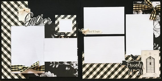 Gather Friends 2 Page Scrapbooking Layout Kit or Pre Made Scrapbooking Page