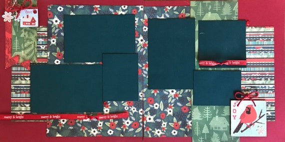 Merry and Bright - Love - Joy 2 page Scrapbooking Layout Kit or Premade Scrapbooking Pages