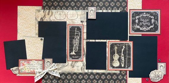 When Words Fail, Music Speaks 2 Page Scrapbooking Layout Kit or Premade Scrapbooking Pages