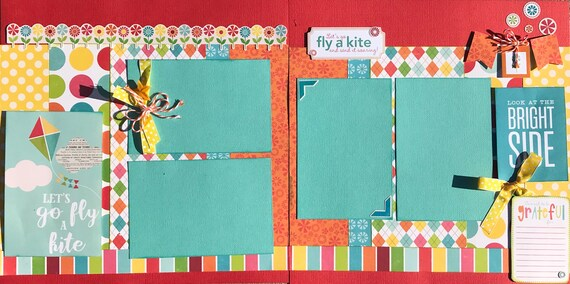 Let's Go Fly a Kite and Send it Soaring... 2 Page Scrapbooking Layout Kit or Premade Scrapbooking Pages