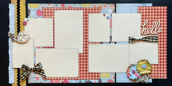 Hello - 2 Page Scrapbooking Layout Kit or Premade Scrapbooking Pages